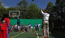 Watch President Barack Obama Lay Bricks on the Basketball Court (Video)