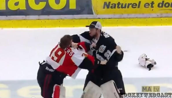 qmjhl goalie fight