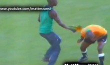 South African Soccer Fan Storms Pitch and Attacks Referee…with His Vuvuzela (Video)