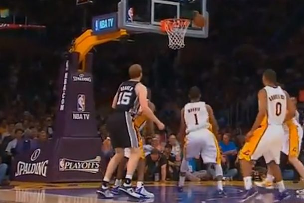 spurs matt bonner heckled by lakers fan
