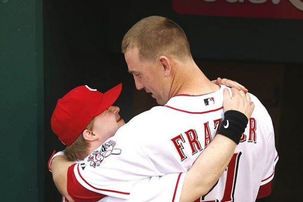 reds todd frazier and bat boy ted kremer