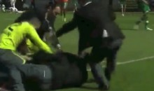 Fan Invades Pitch, Receives Beat-Down from Opposing Goalie (Video)