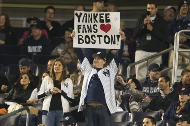 yankees fans love boston sign (boston marathon bombing tribute)