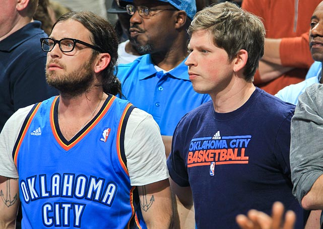 13 nathan and mathew followill (kings of leon) thunder grizzliers game 4 - celebrities at 2013 nba playoffs