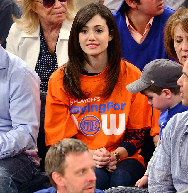2 emmy rossum game 1 knicks pacers - celebrities at 2013 nba playoffs