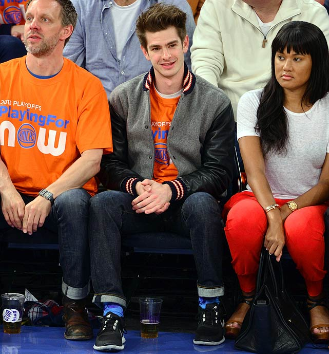 20 andrew garfield knicks pacers game 1 - celebrities at 2013 nba playoffs