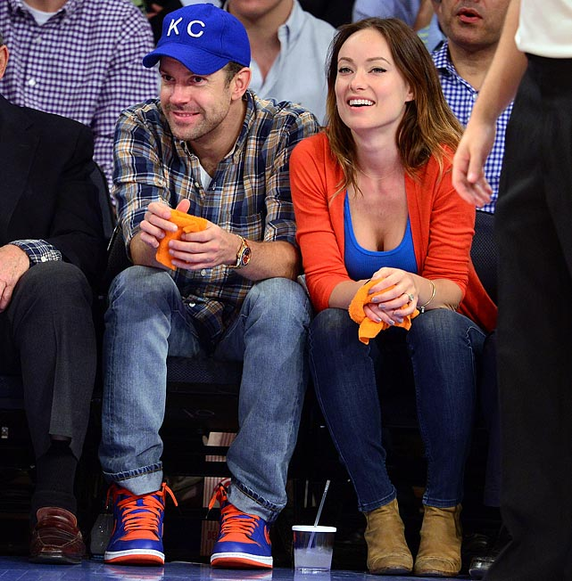 21 olivia wilde & jason sudekis at knicks pacers game - celebrities at 2013 nba playoffs