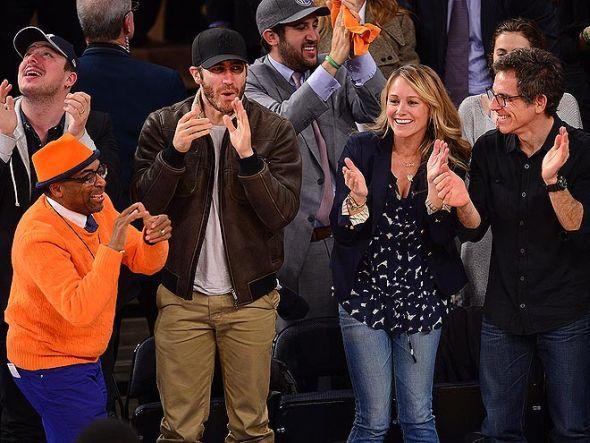 3 jake gyllenhaal, spike lee, ben stiller, christine taylor knicks celtics game 2 - celebrities at 2013 nba playoffs