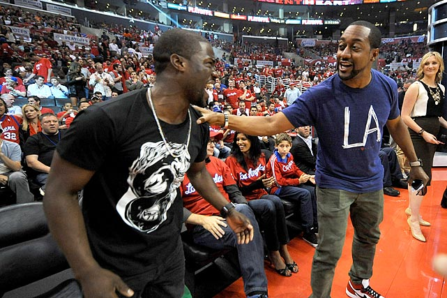 4 jaleel white & kevin hart game 2 clippers grizzlies - celebrities at 2013 nba playoffs
