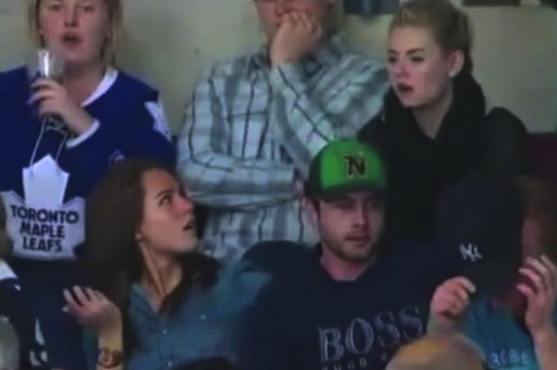 James-Reimers-Wife-And-Elisha-Cuthbert-Death-Stare-After-Leafs-Loss-595x485