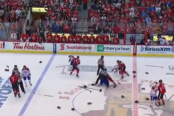 canadiens senators line brawl stanley cup playoffs