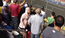 NASCAR Fan Gets Slapped by Female for Throwing Beer as Jimmie Johnson (Video)