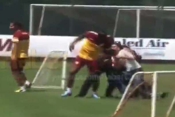 crazy fan almost breaks didier drogba leg