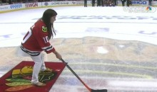 "Danica Patrick Shoots and Scores During the Chicago Blackhawks' ""Shoot the Puck"" Contest (Video)"