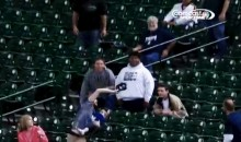 Dad Catches Foul Ball With Hat While Holding Baby (GIF)