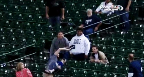 foul ball baby catch