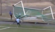 Dangerous Winds Cause Soccer Net To Steamroll a Fan in Norway (Video)