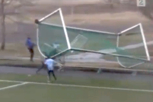 goal blows away at norwegian soccer game