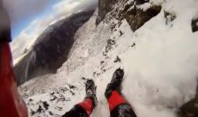 Ice Climber Takes a Scary Fall Down the Side of a Mountain: POV Video