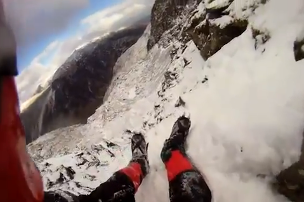ice climber fall caught on helmet cam