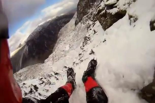 ice climber fall caught on helmet cam