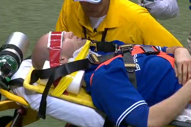 j.a. happ line drive to head stretcher off the field