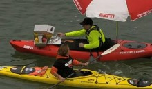 There Was a Kayak Selling Hot Dogs in McCovey Cove During the Giants-Dodgers Game Last Night (Video)