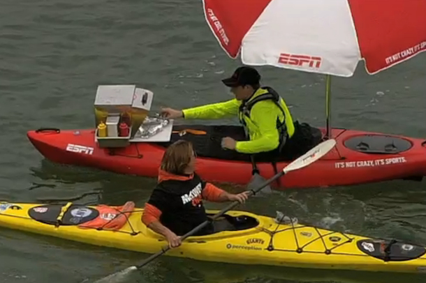 kayak selling hot dogs at mccovey cove at&t park