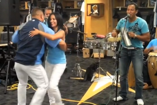 latino band plays rays clubhouse before game
