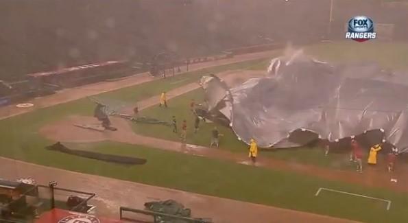 rangers ballpark rain storm tarp