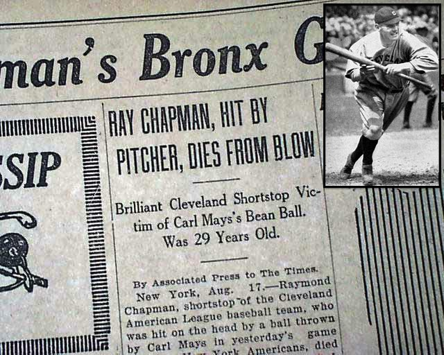 ray chapman death newspaper headline