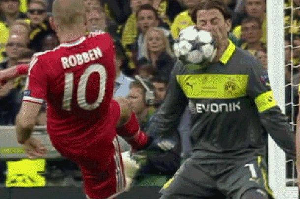 robben shot to face