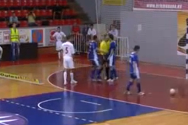 serbian soccer referee headbutts goalie