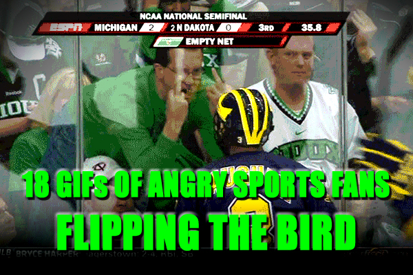 sports fan flipping the bird giving the finger