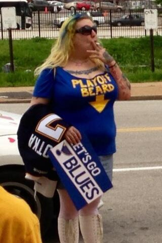 1 female blues fan playoff beard - crazy nhl fans stanley cup playoffs