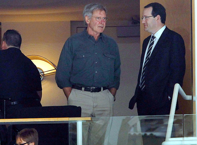10 harrison ford at game 6 western conference semifinals (san jose) - celebs at stanley cup playoffs