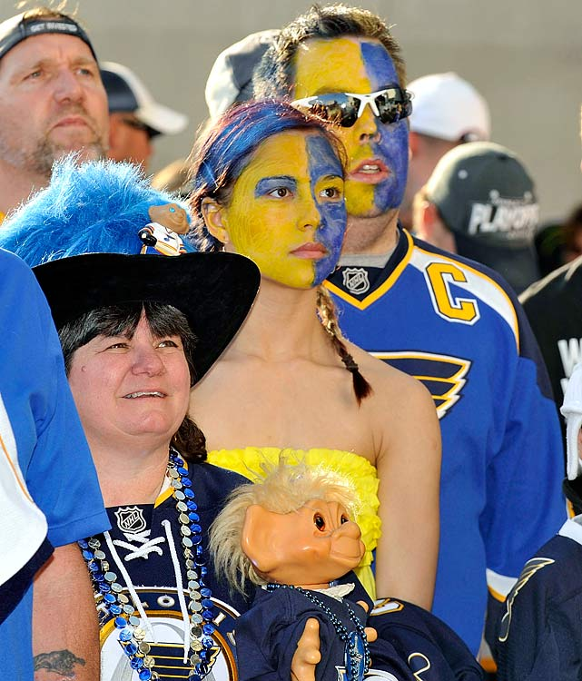 11 blues troll doll lady - crazy nhl fans stanley cup playoffs