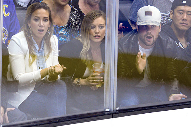 12 haylie duff, hilary duff, and mike comrie at game 4 western conference finals - celebs at stanley cup playoffs