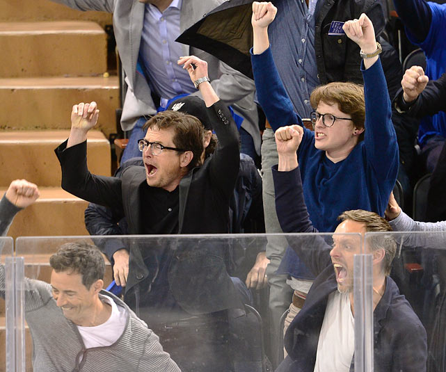 14 michael j. fox and son at eastern conference quarterfinals (rangers) - celebs at stanley cup playoffs