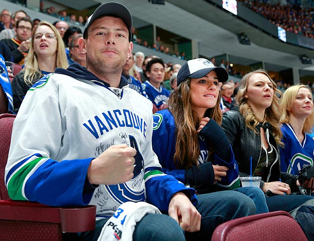 16 cory monteith and lea michele at western conference quarterfinals (vancouver) - celebs at stanley cup playoffs
