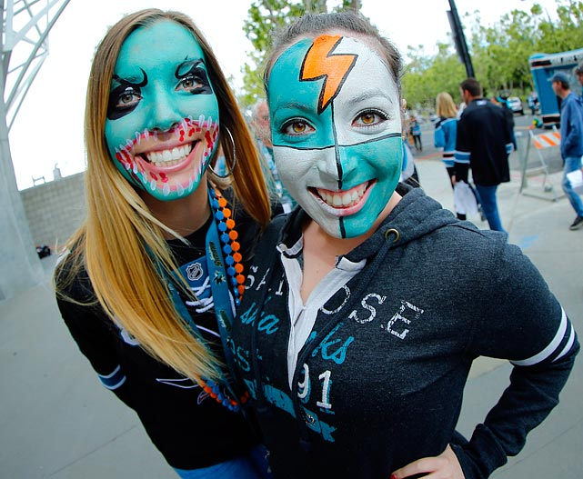 16 sharks fans face paint - crazy nhl fans stanley cup playoffs