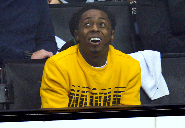 2 lil wayne at game 4 western conference finals (los angeles) - celebs at stanley cup playoffs