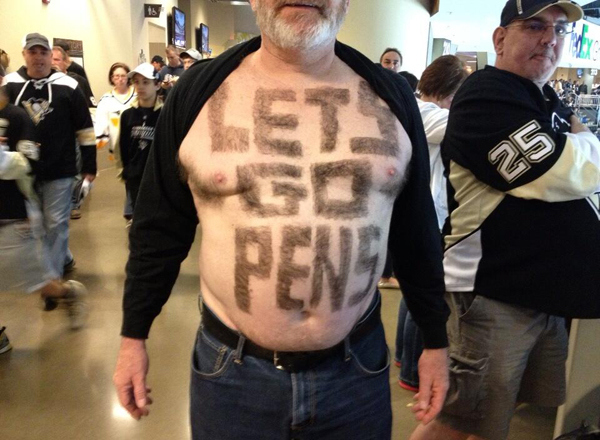 2 penguins fan sign shaved into chest - crazy nhl fans stanley cup playoffs