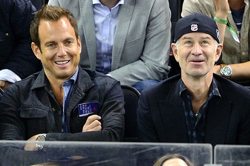22 will arnett and john mcenroe at game 3 eastern conference quarterfinals - celebs at stanley cup playoffs