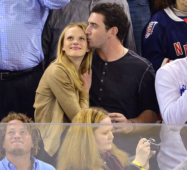 5 matt harvey and ann vyalitsyna at eastern conference semifinals (rangers) - celebs at stanley cup playoffs
