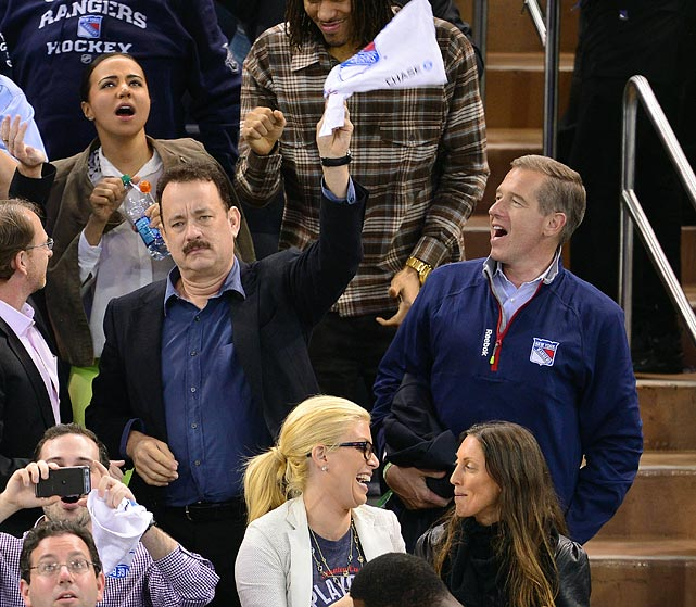 6 tom hanks and brian williams at game 3 eastern conference quarterfinals (rangers) - celebs at stanley cup playoffs