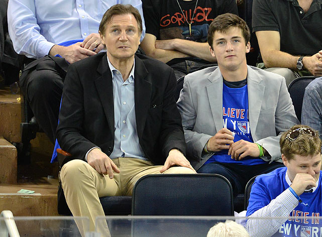 7 liam neeson and son daniel at eastern conference semifinals - celebs at stanley cup playoffs