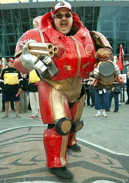 7 senators fan dressed as transformer - crazy nhl fans stanley cup playoffs