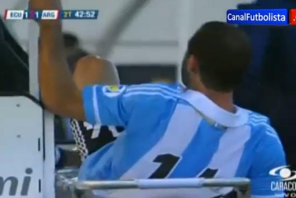argentine soccer player kicks medic