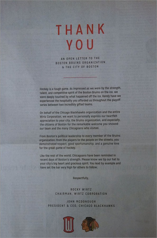 blackhawks full page ad boston globe thank bruins